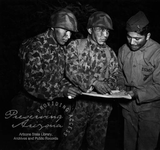 Photograph of Navajo Code Talkers in the Pacific during World War II